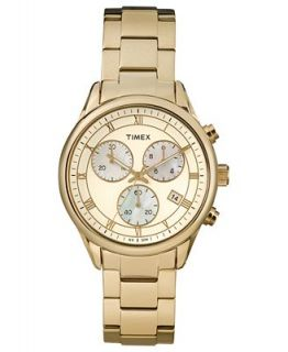 Timex Watch, Womens Chronograph Premium Originals Classic Gold Tone Stainless Steel Bracelet 39mm T2P159AB   Watches   Jewelry & Watches