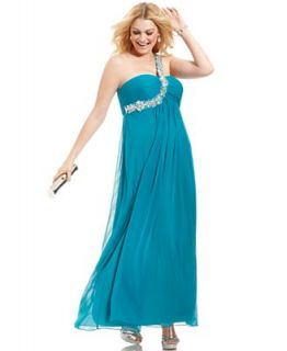 Xscape Plus Size Dress, Sleeveless One Shoulder Beaded Gown   Dresses   Plus Sizes