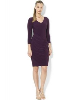 Lauren Ralph Lauren Dress, Three Quarter Sleeve Faux Wrap Jersey   Dresses   Women
