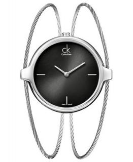 Calvin Klein Watch, Womens Swiss Agile Stainless Steel Double Bangle Bracelet 32x38mm K2Z2M111   Watches   Jewelry & Watches