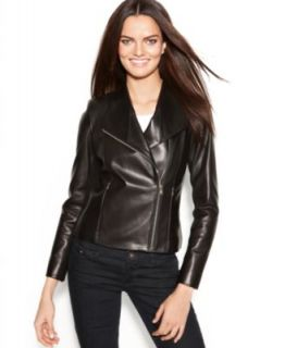 MICHAEL Michael Kors Leather Buckle Collar Motorcycle Jacket   Coats   Women