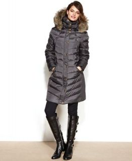MICHAEL Michael Kors Hooded Faux Fur Trim Puffer Coat   Coats   Women