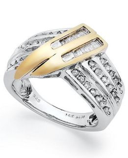 Diamond Ring, Sterling Silver and 14k Gold Diamond Twist Ring (1/2 ct. t.w.)   Rings   Jewelry & Watches