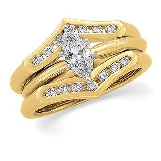 1/4 CT TW 14K Yellow Gold Diamond Ring Guard Jewelry