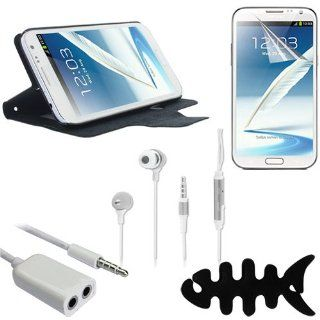 Skque Black Flip Stand Leather Case Cover Skin Shell + Clear Screen Protector + 3.5MM Male to 3.5MM Dual Female Audio Spliter Adapter Supports Mic Function,White + 3.5mm Remote Mic Metal Earphone,Silver with Free Fish Bone Holder for Samsung Galaxy Note 2