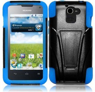 miniturtle(TM) Black and Blue, 2 in 1 Silicone Skin Gel and Hard PC Plastic Heavy Duty Armor Hybrid Protective Shell Case Cover with Built in Kickstand for Android Smartphone Huawei Premia M931 4G Metro PCS    Screen Protector Film Included Cell Phones &a
