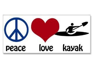 Peace Love Kayak Bumper Sticker (kayaking paddle)