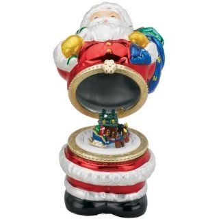 Mr. Christmas 4 1/2 Inch Mini Porcelain Music Box, Metallic Finish    Santa   Holiday Figurines