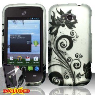 ZTE Savvy Z750c (StraightTalk) 2 Piece Snap On Rubberized Image Case Cover, Black Vines Flowers Swirls Silver Cover + SCREEN PROTECTOR & CAR CHARGER Cell Phones & Accessories
