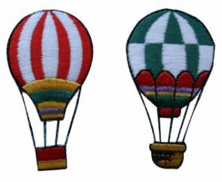 ID #1102AB Pair of Hot Air Balloons Embroidered Iron On Applique Patch Lot of 2