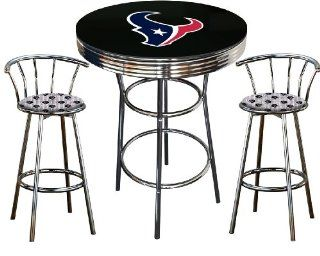 Houston Texans Logo Themed 3 Piece Chrome Metal Finish Bar Table Set with Glass Table Top & 2 Swivel Seat Texans Fabric Themed Bar Stools   Home Bars