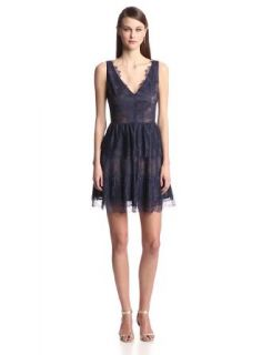 BCBGMAXAZRIA Women's Willa V Neck Lace Dress Bcbg