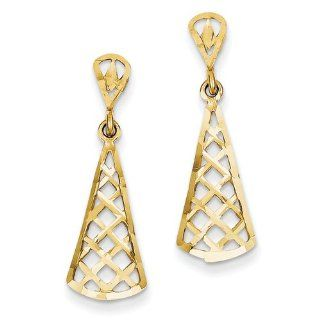 14k Yellow Gold Diamond cut Inverted Fan Dangle Post Earring Jewelry