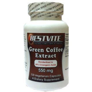 Green Coffee Bean Extract 550mg with 50% Chlorogenic Acid (120 Vegetarian Capsules) Health & Personal Care