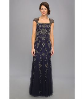 Adrianna Papell Cap Sleeve Envelope Back Bead Gown Womens Dress (Navy)