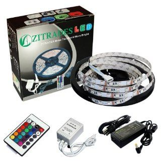 Zitrades Non Waterproof 16.4 Ft RGB Color Changing Kit with LED Flexible Strip+24key Controller+IR Remote box and 12 Volt 4 Amp Power Supply with DC jack 5.5x2.1mm By Zitrades   String Lights