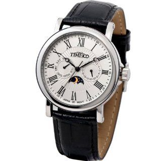 Time100 Men's Roman Numerals Sun Phase White Dial Watch #W80035G.01A Time100 Watch Watches