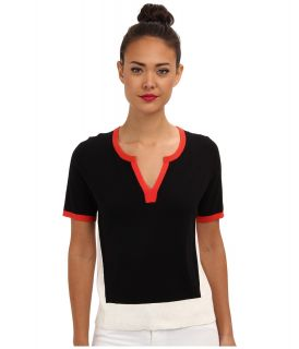 Anne Klein S/S Color Block Pullover Womens Short Sleeve Pullover (Black)