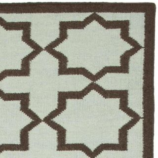 Safavieh Hand woven Moroccan Dhurrie Light Blue/ Chocolate Wool Runner (2'6 x 12') Safavieh Runner Rugs