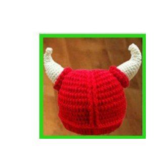 Red Color Crochet Hats Winter Cartoon Hat Handmade Animal Knitted Hat Christmas Gifts Child Viking Baby Hat Crochet Hat Clothing