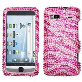 Hot Pink Silver Zebra Crystal Diamante Protector Phone Cover for HTC T Mobile G2 (2010) Cell Phones & Accessories