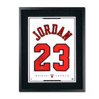 Michael Jordan Chicago Bulls Framed Autographed White Mesh Jersey Numbers Piece  Sports Related Collectibles  Sports & Outdoors