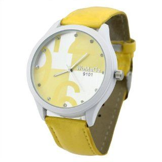 Fancasen Lady Girls Fashion Candy Color Watches  Yellow Quartz Wrist Watch Watches Watches