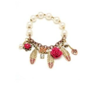 Betsey Johnson Bracelet, Pink Rose And Feather Stretch Bracelet Jewelry