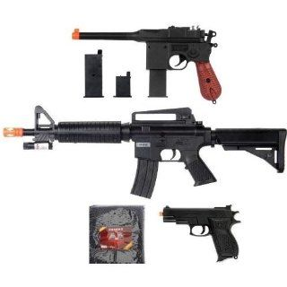 Airsoft Combo Lot M16 M4 Assault Rifle w/ Laser plus WWII German Pistol Handgun BB Gun and 1000 BB bullets  Sports & Outdoors