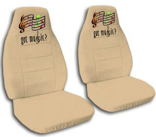 2 front, tan musical note seat covers, for a 2007 Chevy Cobalt. Side airbag friendly. Automotive