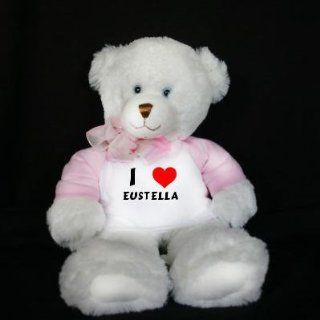 Plush White Teddy Bear (Dena) toy with I Love Eustella (first name/surname/nickname) Toys & Games