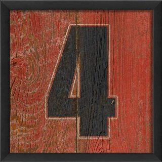 Eclectic Walls 17747 EB Number 4 Wooden Red Framed Print   Decorative Signs