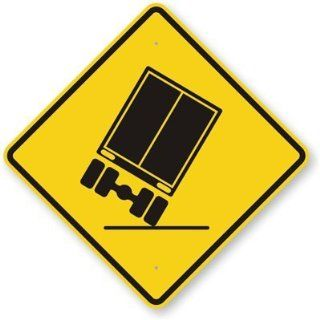 "Truck Falling Graphic, High Intensity Grade Reflective Sign, 80 mil Aluminum, 24"" x 24""  Yard Signs  Patio, Lawn & Garden"
