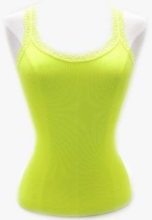 Womens Seamless Rib & Lace Tank Top, Neon Yellow Tank Top And Cami Shirts