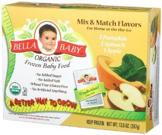 Bella Baby Organic Frozen Baby Food, Mix & Match Flavors (Pumpkin, Spinach, Apple), 9 Count, 1.5 Ounce Pouches (Pack of 4)  Baby Food Fruit  Grocery & Gourmet Food