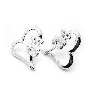 Teddy Bear Earrings   Heart Design   Silver Color   Teddy Bear Jewelry  Other Products