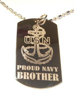 "United States Navy USN Anchor Armed Forces ""Proud Navy Brother"" Engraved Star Logo Symbols   Military Dog Tag Luggage Tag Metal Chain Necklace"