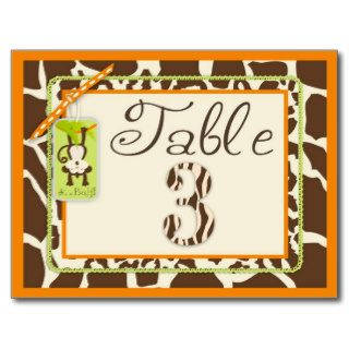 Safari Monkey Animal Print Baby Shower Table Card Postcards