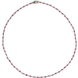 Genuine Ruby Beads Chain Necklace Sterling Silver Fashion Jewelry Jewelry