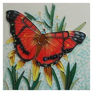 American Painted Lady Butterfly on Cream Background Decorative Ceramic Wall Art Tile 8x8
