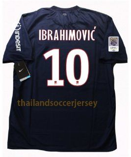 IBRAHIMOVIC' #10 Number Revised New 12 13 S/S PSG Paris Saint Germain Home Football Shirt Soccer Jersey Full L 1 Version (US Small)  Sports & Outdoors
