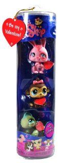 Hasbro Year 2007 Littlest Pet Shop Limited Edition Exclusive Valentine Tube Series 3 Pack Bobble Head Pet Figure Set   Pink Bunny Rabbit (#500) , Brown Monkey (#501) and Green Iguana Lizard (#499) Toys & Games