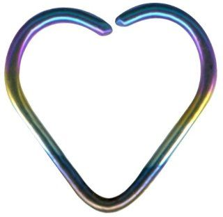 Rainbow Tiny Bendable Heart Captive Ring Niobium Daith Jewelry Heart Shaped Cartilage Earring 18g Earring No Tools Needed Valentines Day Gift for Her Body Piercing Rings Jewelry
