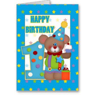 Happy Birthday 1 year old Clown Bear Greeting Cards