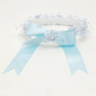 Lito Girls Lt Blue Floral Pearl Satin Bow Special Occasion Hair Wreath Lito Clothing