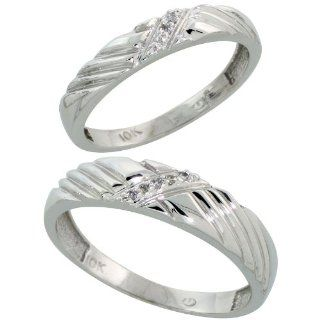 10k White Gold Diamond Wedding Rings Set for him 5 mm and her 3.5 mm 2 Piece 0.05 cttw Brilliant Cut, ladies sizes 5   10, mens sizes 8   14 Jewelry