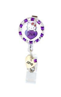 Love Heart CNA logo Hello Kitty Rhinestone Retractable Badge Reel with Heart Charm/ ID badge Holder (Purple)  Identification Badges