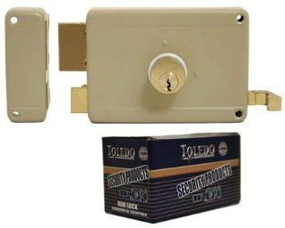 Deadbolt Rim Night Latch Door Lock Set (Best Heavy Duty Double Dead Bolt Keyed Cylinders & Yale Keyway) Left Hand~Inward Rim Lock