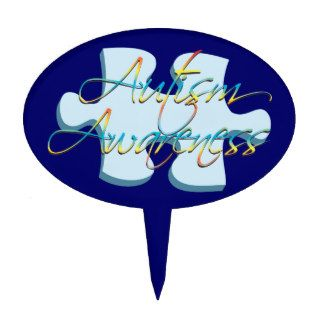 Autism Awareness Puzzle Piece Dk Blue Cake Topper