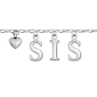 "925 Sterling Silver ""Love Sis"" Word Heart Charm Bracelet 7'' 9'', Gift for Sister, Big Sis, Little Sis Link Charm Bracelets Jewelry"